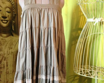 Tunic dress with wide straps T 42-44 Khaki, rustic and romantic shabby