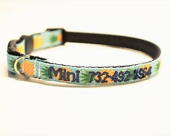 "Personalized Cat Collar / Mini Dog Collar / Tiny Breeds / Pineapple / Made to Order / 3/8"" Wide"