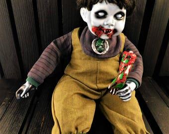 """Ubel 12"""" OOAK Poseable Porcelain Horror Doll"""