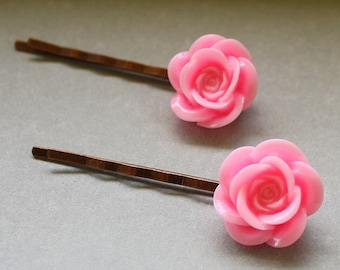 Pink Flower Bobby Pins - Acrylic Floral Cabochon Hair Pins