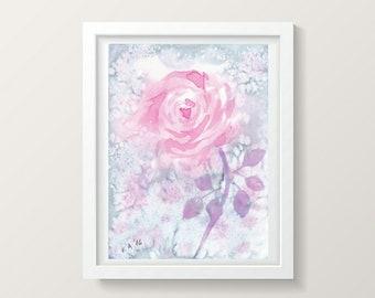 Petit mur Rose Art peinture aquarelle fleurs Aquarelle Peinture Dessin Aquarelle Rose Fleurs Floral Art Floral aquarelle dessin mural