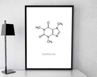 Caffeine molecule, coffee print, coffee poster, chemistry art, chemistry poster, caffeine print, science poster, coffee