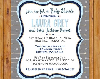Arrows Aztec Tribal Baby Shower Invite It's a Boy Grey Blue Invitation Printable 5x7 Digital JPG File (574)