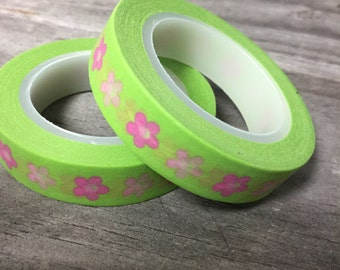 Washi Tape - 10mm -  Pink Whimiscal Flowers on Lime Green - Deco Paper Tape No. 348