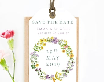 Save The Date Luggage Tags // wedding // invitation // botanical // save the date cards