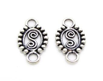 2 Pcs, Sterling Silver Connectors