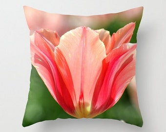 Fine Art Photography,Tulip Throw Pillow Cover, 20x20,16x16,Soft, Dreamy,TOO CUTE, Spring Accent Pillow, Wedding Gift, Shabby Chic Decor, Red