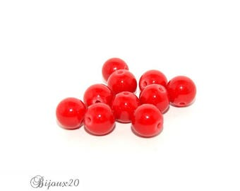 10 pearls Jade 8 mm gemstone natural semi precious red Lot M04002