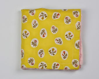 Flowers on Yellow Security Blanket Lovie with Coral Minky Dot