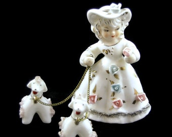 Vintage Porcelain Figurine - Lady Walking Poodle Dogs - Chained Figurines