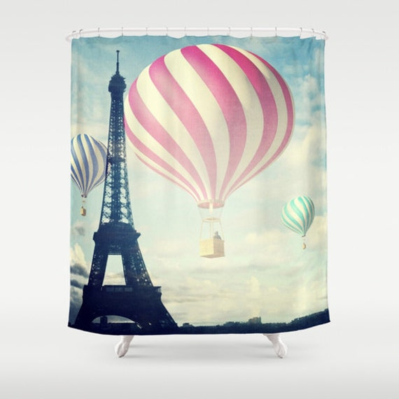 Hot Air Balloons Shower Curtain, Bathroom, Paris Home Decor, Eiffel Tower Shower Curtain, Whimsical, Iconic, Landmark, City, Parisian, Dorm