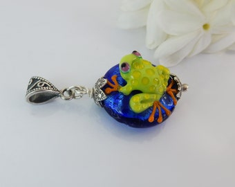 Frog on a Blue Lentil Shaped Bead - Focal Bead - Lampwork Glass Pendant - Handmade Jewelry - Women's pendant