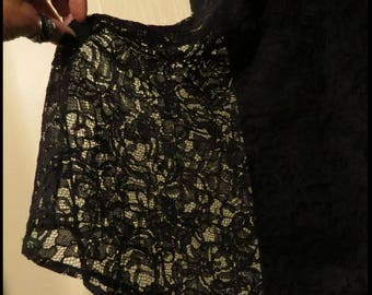 PLUS SIZE Black LACE Skirt 2 layer, fully lined, Size 22W