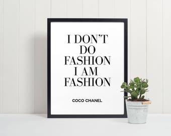 Coco Chanel Quote | Fashion Print | Coco Chanel Print | Chanel Printable | Chanel| Fashion Decor | Wall Art | Home Decor | Chanel Print