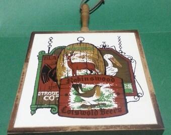Retro Tile Trivet with Wooden Frame / Vintage Decorative Tile Trivet