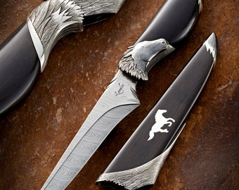 Straight art knife with sheath  - straight knife - one of a kind creation - handmade - damascus - stainless steel - horses