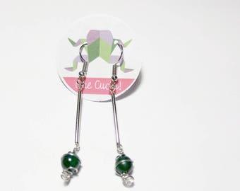 Long earrings with Malachite beads