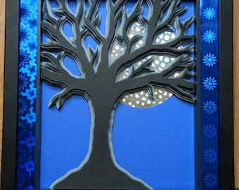 3D Paper Sculpture Moon Tree