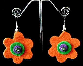Mini Orange Funky Felt Flowers Earrings