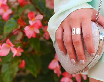 Silver Hand Stamped Ring/ Hand stamped jewelry/ LOVE LIFE Wide silver band, cuff ring