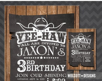 Chalkboard Western Invitation - Cowboy Birthday - Cowgirl Invitation - Chalkboard - Western - Western Invitation Printable