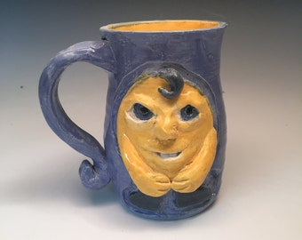 Yellow Critter Face Mug with Cornflower Blue