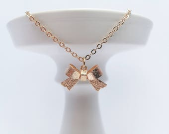 Gold bow necklace, bow choker necklace, champagne gold necklace, gold choker, gift for her, lolita necklace, short necklace