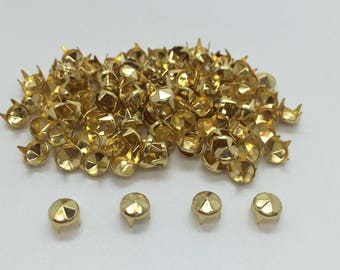100 Pieces x Rivets - Punk Studs - DIY Craft Spikes Spots Metal Silver or Gold