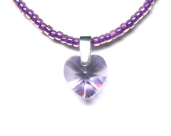 Violet crystal heart pendant on beaded necklace, purple pendant, Swarovski crystal, seed beads, sterling silver bail, sterling silver clasp