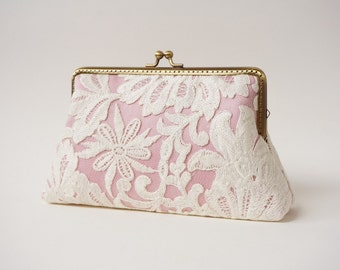 Rose Pink Ivory Lace Clutch / Wedding Party / Gift ideas / Vintage Inspired  - Ready To Ship