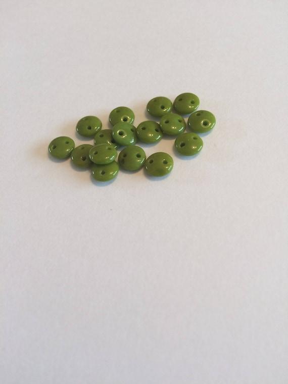 Opaque Olive CzechMates 2 hole 6mm Lentil Beads 50 pieces