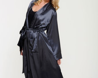 Long Pure Silk Robe - Silk Dressing Gown - Floor Length - Handcrafted - Very Special Gift for Her - Truly Luxurious - Midnight Grey Colour