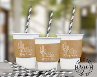 Cactus Wedding Cup Sleeves | Paper Cup Sleeves | Coffee Sleeves | Hot Beverage Sleeves | Bride Groom Favors | social graces and co.