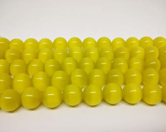 Yellow Beads Cats Eye Beads Round Beads Jewelry Beads for Jewelry Making Necklace Beads Bracelet Beads Earring Making Bracelet Making DIY