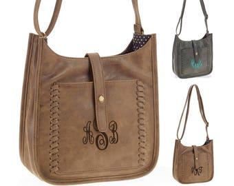 Personalized Monogram Chic Crossbody Tote bag, Stylish Boho Crossbody, Faux leather Crossbody purse, Monogrammed Handbags and Purses