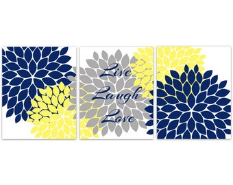 Wall Art CANVAS, Live Laugh Love, Blue Grey Wall Art, Flower Burst Bathroom Wall Decor, Blue and Yellow Bedroom Wall Art - HOME109