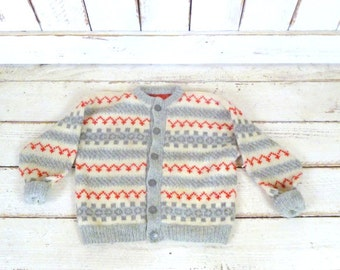 Vintage toddler chunky grey/ivory/red woven knit cardigan sweater/Christmas winter sweater/wool sweater