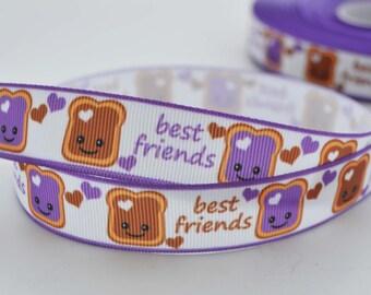 """Best Friends Peanut Butter and Grape Jelly Sandwich Heart Love  Grosgrain Ribbon 7/8"""" Wide"""