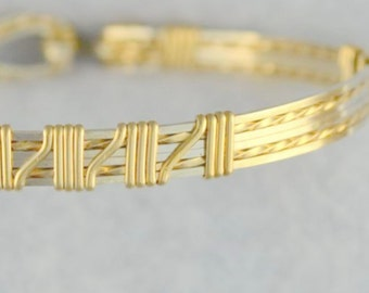 "Wire wrapped bangle bracelet.  Sterling Silver & 14K gold filled.  ""Fancy Steps"""