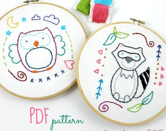 Owl Embroidery. Raccoon Embroidery. Hand Embroidery Pattern. Digital Pattern. Nursery Hoop Art. Nursery Decor. Woodland Decor. Kids Crafts.
