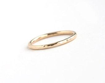 Lina - Handmade Solid 18k Yellow Gold Wedding Band Wedding Ring Hammered Textured Upto Size 8