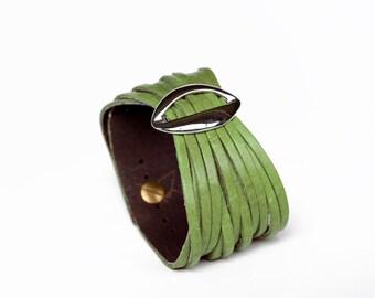 Lime Green Women's Leather Cuff Bracelet  - Lips cuff