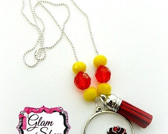 Beauty and the Beast Necklace, Belle Necklace, Rose Necklace, Princess Belle - Jewelry Party Favor - Birthday Gift - Chain Necklace