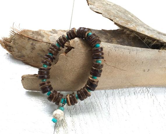 Bohemian Stretch Bracelet, Bohemian Jewelry, Beach Bracelet, Boho Jewelry, Coconut Shell Bracelet, Yoga Inspired Jewelry