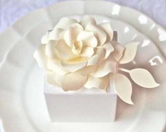 ROSE - Gift Bow - Napkin Holder -  Wedding Favor  Embellishments - handmade paper flower   - Custom order available