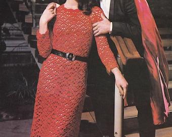 PDF crochet midi dress vintage crochet pattern pdf INSTANT download pattern only pdf 1970's dress long sleeve