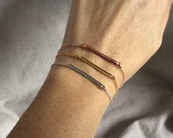 Rose gold bar pendant bracelet, Thin bar Rose gold bracelet, minimalist bar pendant bracelet,  minimalist, boho jewelry, layering