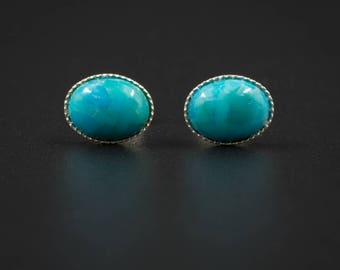 S5 Natural turquoise stud earrings turquoise sterling silver handmade gemstone stud earrings turquoise silver stud earring sagittarius studs