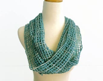 summer scarf, boho chic, blue green hand woven wrap, aqua accessory, fishnet scarf, spring scarf, lightweight scarf, handwoven by SpunWool