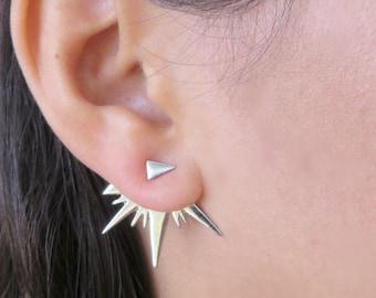 Silver Ear Jacket Earring, Minimalist Ear Cuffs, Geometric Jacket Earring, Silver Stud Earring, Fashion Ear Jacket, Women Trendy Jewelry
